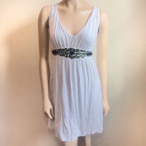 Boston Proper Size XS White Vneck Jeweled Dress